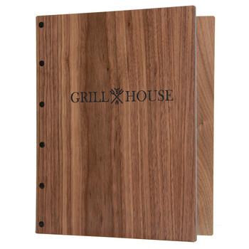 Riveted Walnut Wood Screw Post Menu Cover