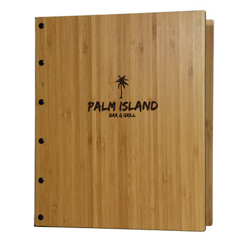 Riveted Bamboo Wood Three Ring Binder