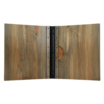 Riveted Blue Pine Wood Three Ring Binder Interior