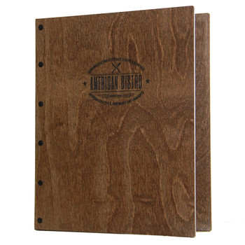 Riveted Baltic Birch Wood Three Ring Binder