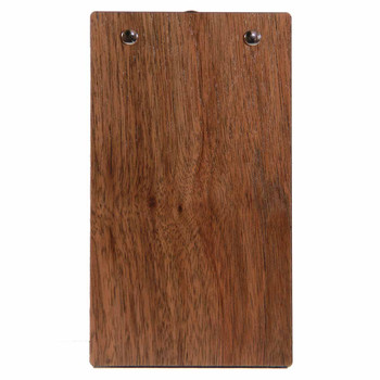 "Walnut Wood Check Presenter with Clip 4"" x 7"" Back View"