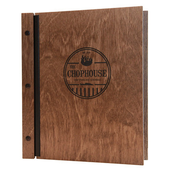Wood chicago menu board made with baltic birch shown here in walnut stain with black screws and engraved logo.