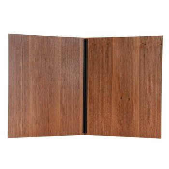 Interior of wood chicago menu board with walnut wood black screws.