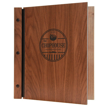 Walnut wood chicago menu board with black screws.