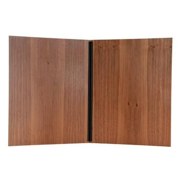 Interior of walnut wood chicago menu board.