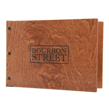 "Riveted Baltic Birch Wood Three Ring Binder 8.5"" x 5.5"" in nutmeg stain with an engraved logo has a landscape orientation."