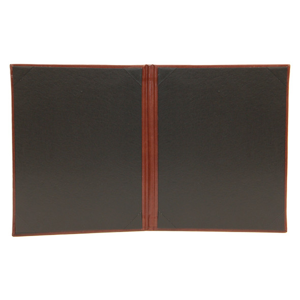 Interior of Bonded Leather Two View Menu Cover has a delano black interior and diploma corners.