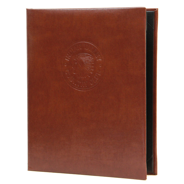Bonded Leather Two View Menu Cover in brown with a blind debossed logo.