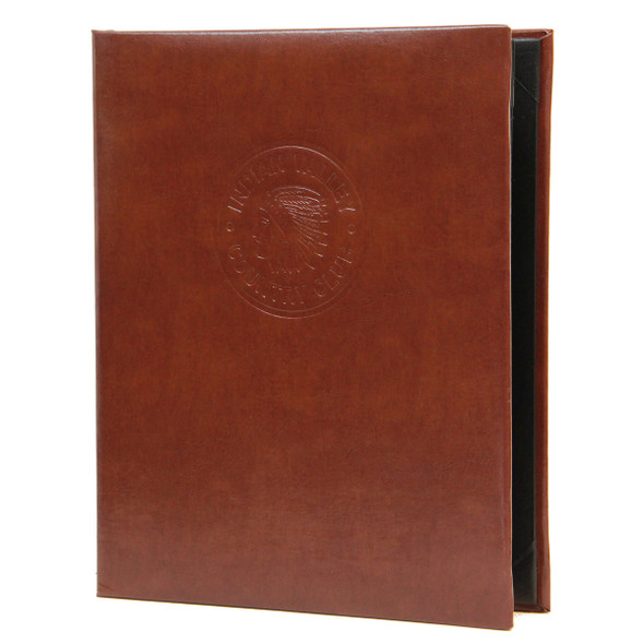 Bonded Leather Two View Menu Cover in brown with a blind debossed logo
