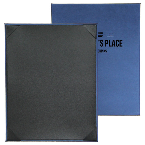 Fresca One Panel One View Menu Board in Blue with Delano Black interior panel using album style diploma corners.