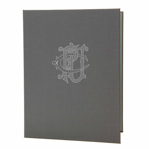 Linen Screw Post Menu Cover in pewter.
