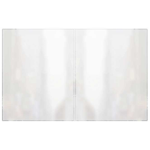 Two panel book style All Clear Menu Cover