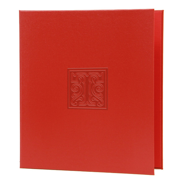 La Playa Three Ring Binder in cardinal with matte red foil stamp.