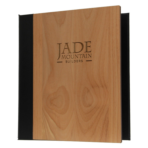 Solid Alder Three Ring Binder shown with natural alder finish and engraved logo.