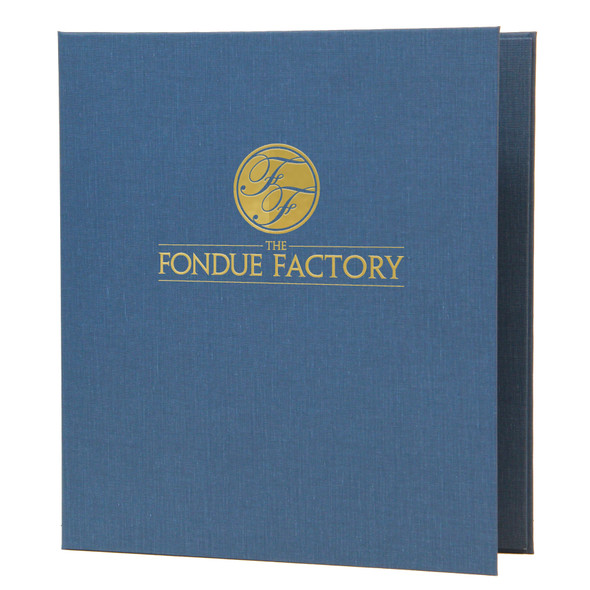 Linen Three Ring Binder shown in blue canvas with a metallic gold foil stamp.
