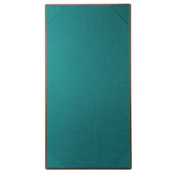 Premium Hardboard One View Menu Board 5.5 x 11 with teal linen interior panel.