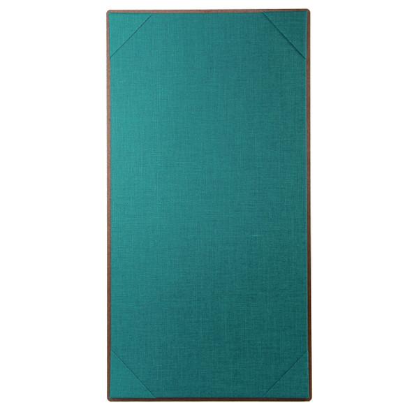 Premium Hardboard One View Menu Board 5.5 x 11 with teal linen interior panel.