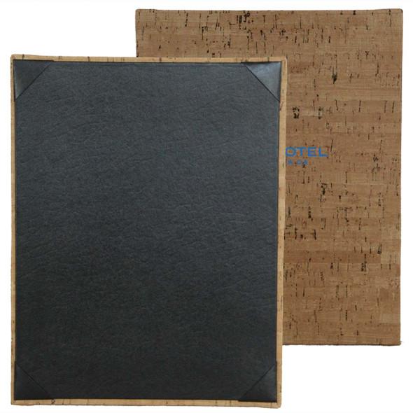 Cork Look One View Menu Board shown in natural faux cork with delano black interior panel