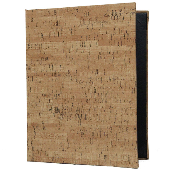Cork Look Menu Cover shown as a two view in natural with delano black interior