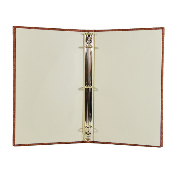 Interior of Bahama Weave Three Ring Binder with linen vanilla and a brass three ring mechanism.