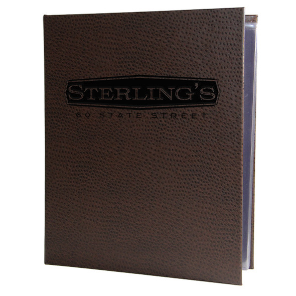 Ostrich Spiral Menu Cover in Dark Brown
