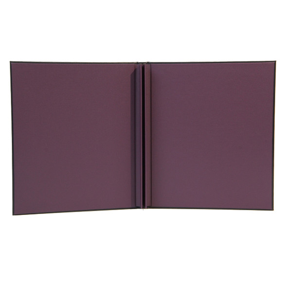 Delano Screw Post Menu Cover with eggplant linen interior.
