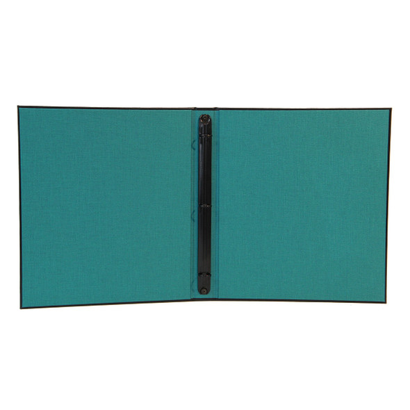 """Interior view of Delano Three Ring Binder with linen turquoise interior and 1/2"""" black mechanism."""