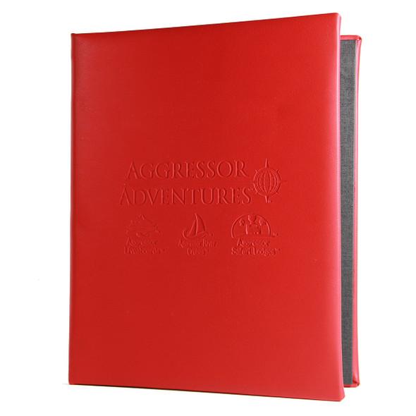 La Costa Screw Post Menu Cover in red.