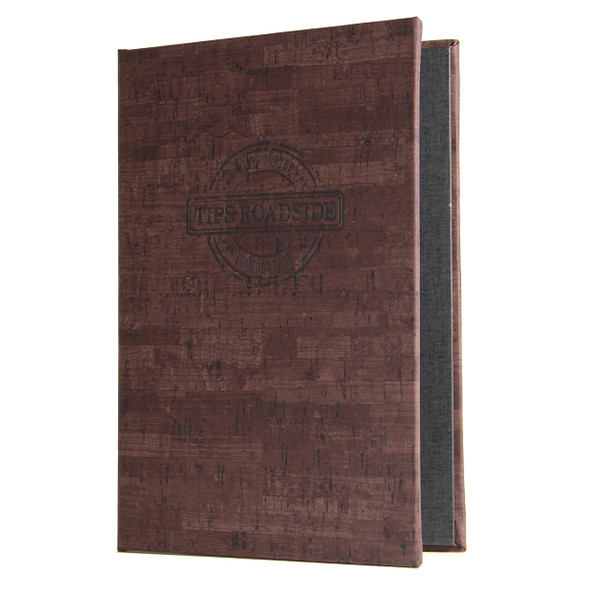 Cork Look Screw Post Menu Cover shown in cocoa with optional burnished logo.