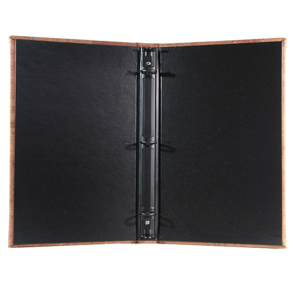 "Cork Look Three Ring Binder 5.5"" x 11"" with delano black interior and 1/2"" black mechanism."