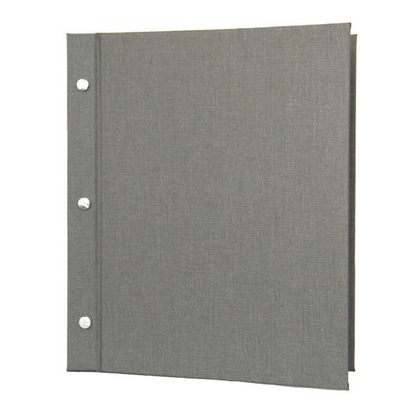 Linen Chicago Menu Board shown in pewter with aluminum screws and posts