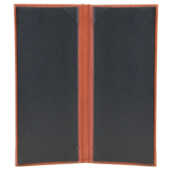 Wood Look Two View Menu Cover 4.25x11 has a Delano Black interior with diploma corners.