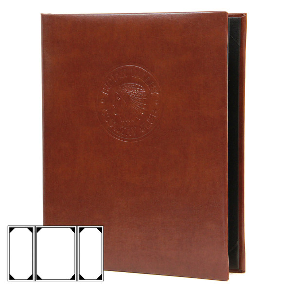 Bonded Leather Three View Gatefold Menu Cover in brown with a blind debossed logo
