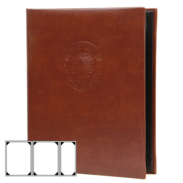 Bonded Leather Three View (Double+ Half) Menu Cover in brown with a blind debossed logo