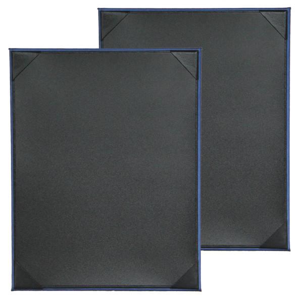 Fresca One Panel Two View Menu Board in Blue with Delano Black interior panel using album style diploma corners