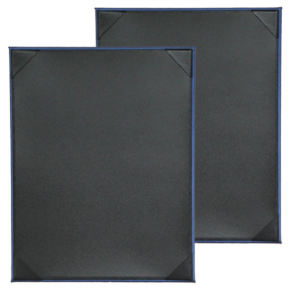 Fresca One Panel Two View Menu Board in Blue with Delano Black interior panel using album style diploma corners.