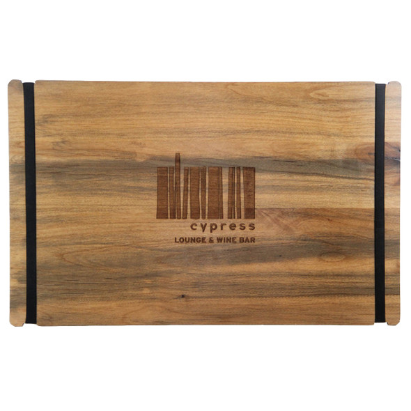 Wood Menu Board with Bands in landscape view, with laser engraved logo and alder antique distressed finish.
