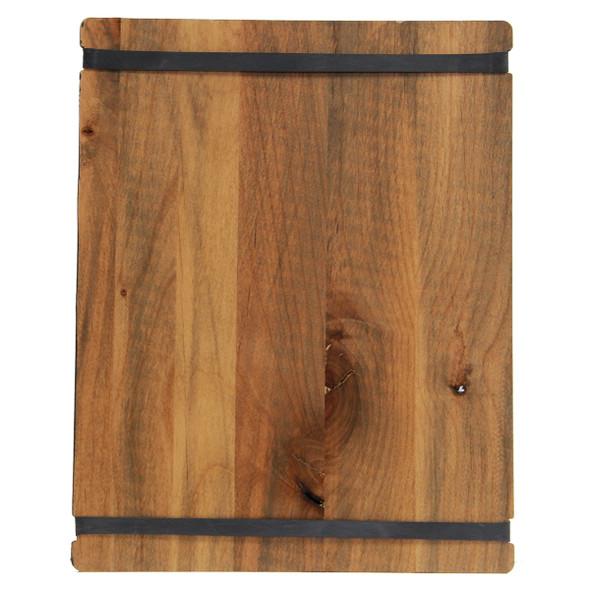 Back side of stained alder menu board with distressed alder finish and black bands.
