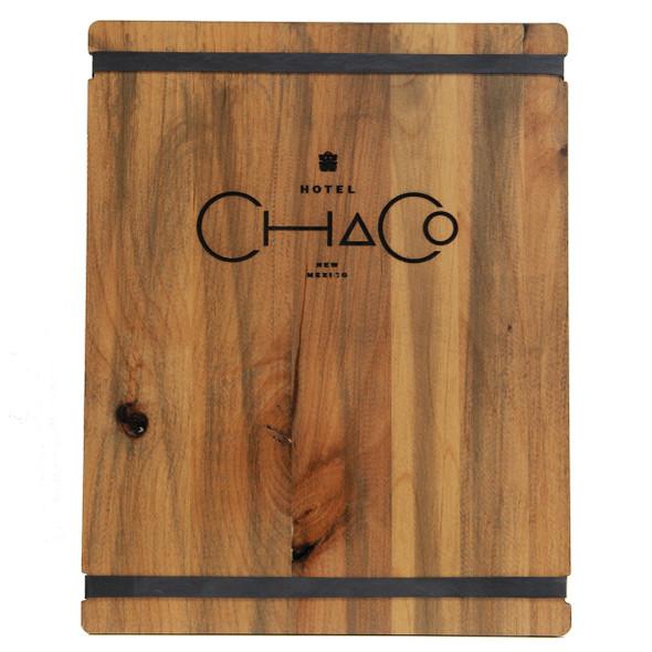 Stained Alder Wood Menu Board has alder distressed finish and engraved color filled logo.