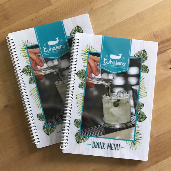 Printed Spiral Menus with Pockets 5.5 x 8.5