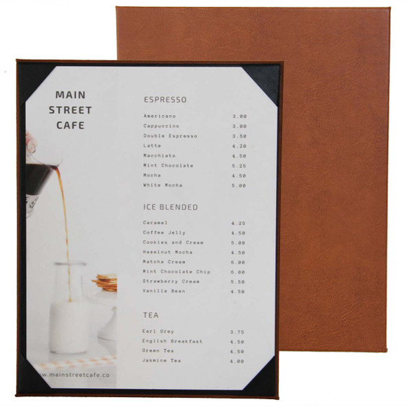 Bordeaux One View Menu Board shown in Terra with Linen French Roast Interior Panel.