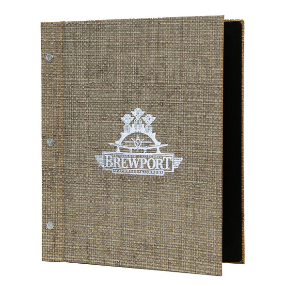 Bahama Weave Chicago Menu Board in glacier sand with aluminum screws and metallic silver foil stamp