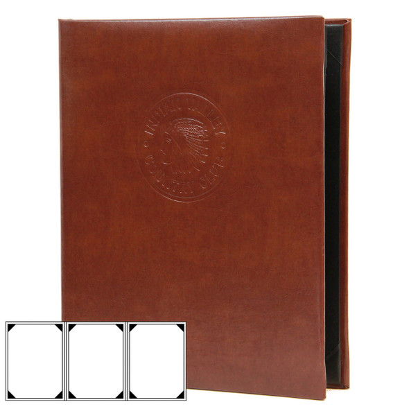 Bonded Leather Three View Menu Cover in brown with a blind debossed logo