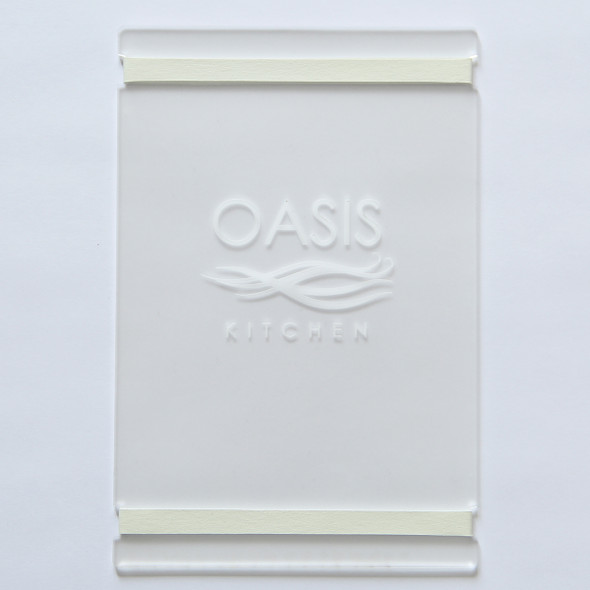 """Acrylic Menu Board with Bands 5.5"""" x 8.5"""" in Frosted."""
