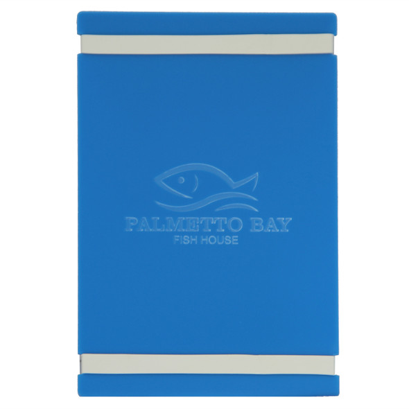"""Acrylic Menu Board with Bands 5.5"""" x 8.5"""" in light blue with laser engraved logo."""