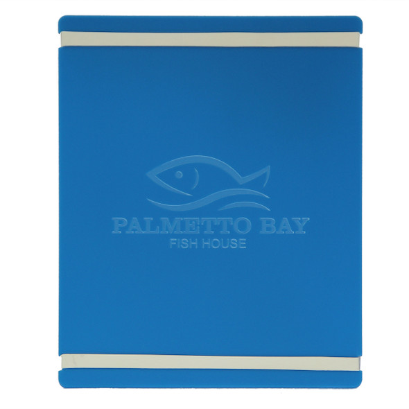 """Acrylic Menu Board with Bands 8.5"""" x 11"""" in Light Blue with laser engraved logo and off white bands."""