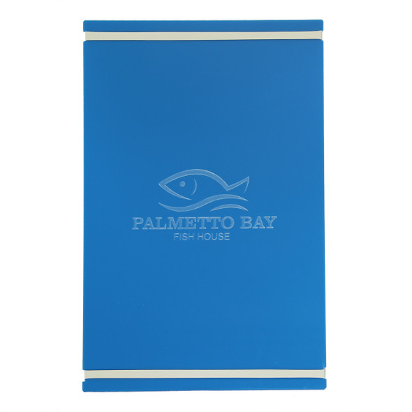 """Acrylic Menu Board with Bands 11"""" x 17"""" in Light Blue with laser engraved logo and off white bands."""