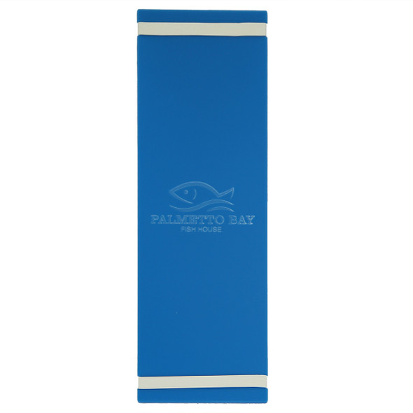 """Acrylic Menu Board with Bands 4.25"""" x 14"""" in light blue with laser engraved logo."""