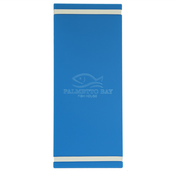 """Acrylic Menu Board with Bands 5.5"""" x 14"""" in light blue with laser engraved logo."""