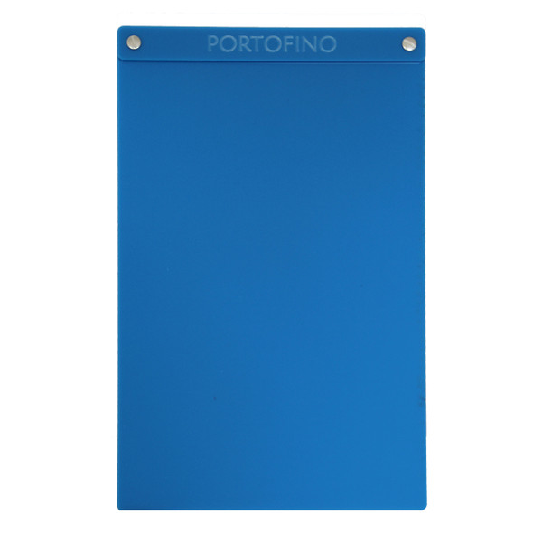 "Acrylic Menu Board with Screws 8.5"" x 14"" in Light Blue with laser engraved logo."